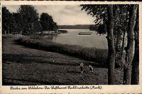 ZECHLINERHÜTTE Mark RHEINSBERG alte AK um 1940 Schlaborn-See spielende Kinder