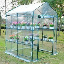 5'x5'x6' Portable Walk-In Greenhouse 8 Shelves Plant Flower Gardening House