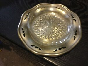 12cm diam EPNS SILVERPLATED trinket dish with glass liner VGUC made in England