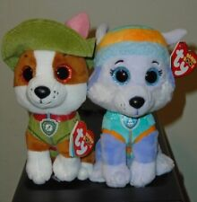 "Ty Beanie Boos Set - EVEREST & TRACKER the 6"" Nickelodeon Paw Patrol Dogs ~ NEW"