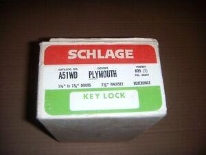 Vintage SCHLAGE A51WD PLYMOUTH 612 Brass Door Knob Keyed Lock Set 1980s