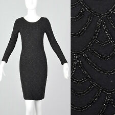 XS 1990s Carmen Marc Valvo Tight Black Knit Dress Beading Long Sleeves 90s VTG