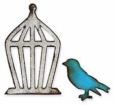 Sizzix Mini Bird & Cage magnetic die set #657207 MSRP $15.99 designer Tim Holtz!