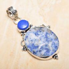 """Handmade Blue Sodalite Jasper Gemstone 925 Sterling Silver 2.5"""" Pendant #P16273"""