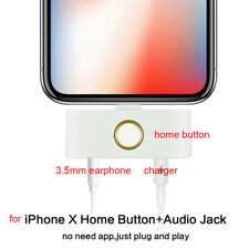 For iPhone X 8 7 External HOME Button + Audio Jack Adaptor USB Charging Plug