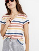 New Madewell M skyline v neck tee in Jay Stripe T Shirt Slub Cotton Blend NWT