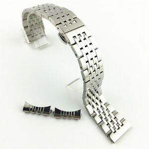 Women Mens Stainless Steel Watch Strap Band Bracelet Curved+Straight End 12-24mm