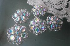 10 Silver Metal Flower Buttons AB Clear Rhinestone 25 mm Bridal Embellishment