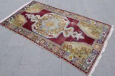 """Turkish Vintage Handmade Anatolian Wool Red Area Rug Carpet  81""""x43"""""""