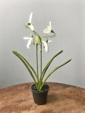 Potted Artificial Snowdrop, Realistic Faux Silk Spring Flowers Bulbs in Pot