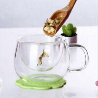 Clear Glass Heat Resistant Milk Tea Mug Coffee-Cup with Tea Infuser Filter&Lid