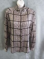Notations Blouse Size 12 Sheer Shadow Stripe Scarf Print Triple Collar