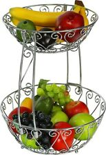 2-Tier Countertop Fruit Basket Bowl Storage, Chrome