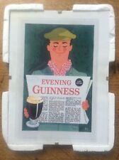 Newspaper GUINNESS Advertising Advert Man Cave Vintage Retro Bar Pub Mounted