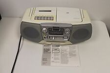 Vintage White Sony Boombox AM/FM/CD/Cassette Player/Recorder, CFD-V17 AS IS