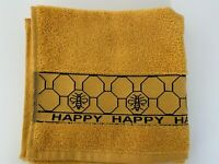 Pack of Three Bee Happy Kitchen Hand Tea Towel in Ochre 100% Cotton 50cm x 65cm