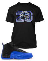 Blue Game T shirt To match Air Jordan 12 Game Royal  Blu Game Shoe Men Pro Club