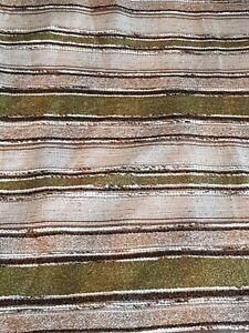 Vintage Handmade Large Heavy Curtains Green & Light Tan 1970s
