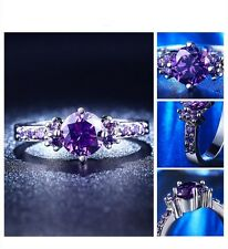 Sparkling 925 Sterling Silver PURPLE Cubic Zirconia Crystal Ring SIZE 5 Jewelry