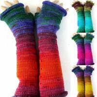 Womens Winter Long  Fingerless Wrist Arm Hand Warmer Knitted Warm Gloves  Mitten