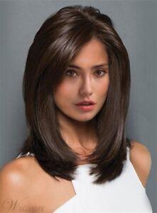 100% Human Hair Natural Medium Straight Dark Brown Fashion  Women's Wig
