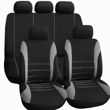 Car Seat Cover Set Black Grey Luxury Universal Fit