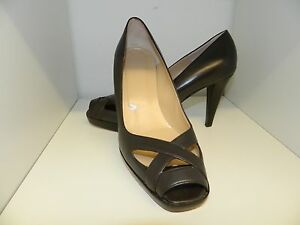 Hobbs Brown Leather Peep Toes High Heel Shoes Size 6 - 39