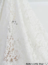 """Light Ivory/Cream Rose Floral Embroidery STRETCH Soft Lace Fabric(55"""" Width)—½ M"""