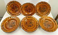 Spode Luneville Faience France Louis XV Honey Veronique Shallow 6 Bowl Set