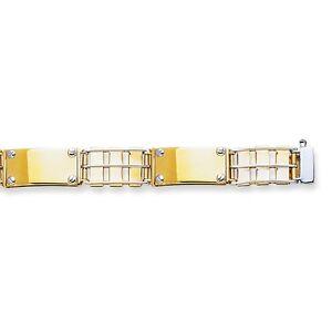 Men's 14K Yellow White Gold Railroad Type Nail Head Bracelet