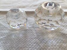Set 2 Round Austrian Swarovski Lead Crystal Candle Holders