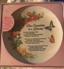 New in Box Heirloom Editions Friendship Collector's Plate Flowers Butterflies
