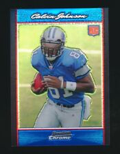 CALVIN JOHNSON 2007 BOWMAN CHROME BLUE REFRACTOR ROOKIE CARD RC #/150 *LIONS*