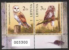 Lithuania 2014 Red Book Birds Owls pair of Booklet MNH**