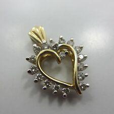 14k GOLD 0.40 ct round Diamond heart pendant Necklace