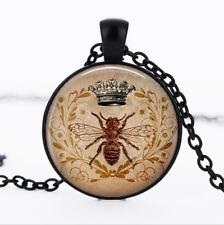 QUEEN BEE Pendant Black Glass Cabochon Necklace chain Pendant Wholesale