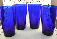 "Set of 4 Vintage Cobalt Blue Glass Water Juice Tumblers 6"" Tall (C2)"