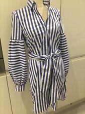 Zara Blue & White Stripe Puffy Sleeves Tunic Dress Size XL BNWT