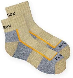 3 Pair Bamboo ECOSOX Light Weight Hiking Quarter Socks  Khaki/Grey  3 sizes avai
