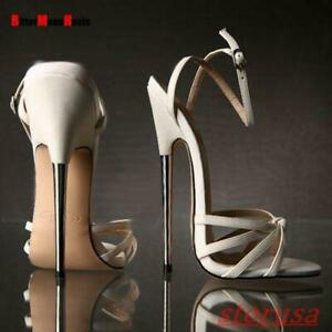 Womens Peep Toe 18cm Super High Heel Shoes Ankle Strap Nightclub Sandals Plus Sz