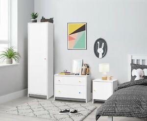 Kids Bedroom Furniture Trio Set Wardrobe Chest of Drawers Bedside Baby Nursery
