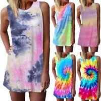Womens Casual Tie Dye Sleeveless Mini Dress Summer Beach Loose Tank Top Sundress
