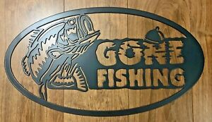 Gone Fishing Metal Wall Are Sign Oval