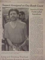 VINTAGE NEWSPAPER HEADLINE ~TERRORIST KILLER TED KACZYNSKI UNABOMBER CAUGHT 1996