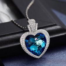 Halskette Herz Anhänger Collier Silber mit SWAROVSKI® Kristallen 18K Weißgold