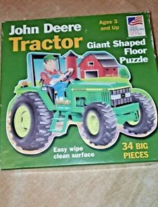 John Deere Tractor Giant Floor Puzzle 34 Pc. Ages 3 & Up Easy Wipe Clean Surface