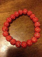 Womens Rustic Rhinestone Beaded Bracelet, Cuff. Red