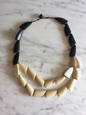Anthropologie Wood Bead Mother Of Pearl Black White Neutral Statement Necklace
