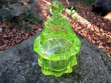 MOSSER GLASS YELLOW COLONIAL LADY TRINKET BOX COVERED JAR CANDY DISH