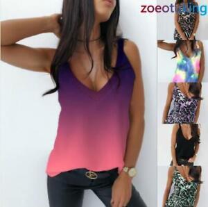 Womens Camisole T-Shirt Vest Tank Summer Leopard Cami Blouse V Neck Plain Tops